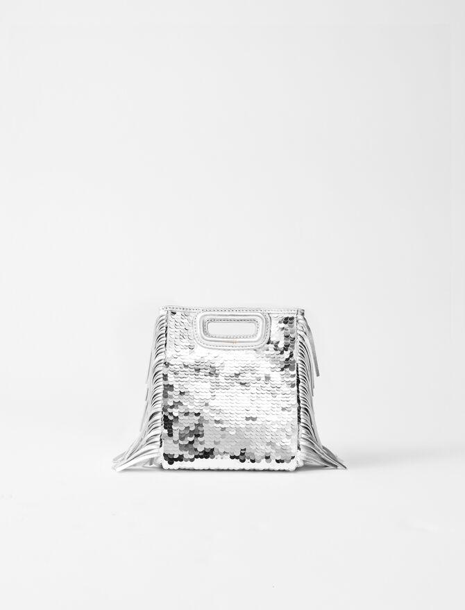 Sequinned leather mini M bag -  - MAJE