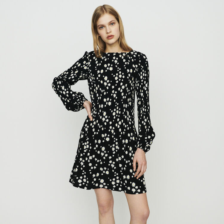 Pleated dress with daisy print : Dresses color Printed