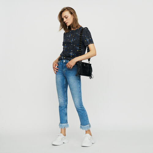 Straight jean with fringe : Ready to wear color Denim