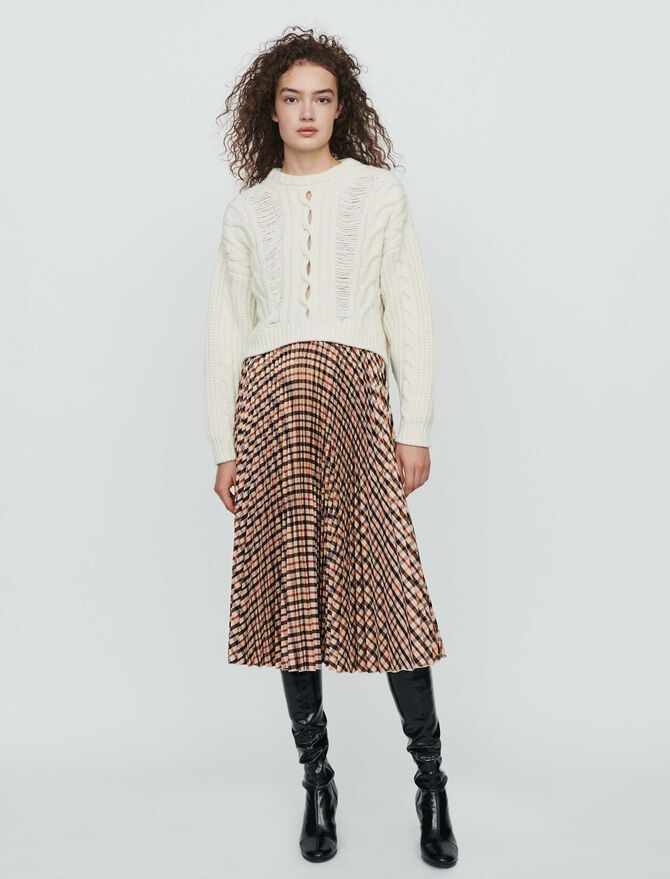 Elasticated pleated plaid skirt -  - MAJE