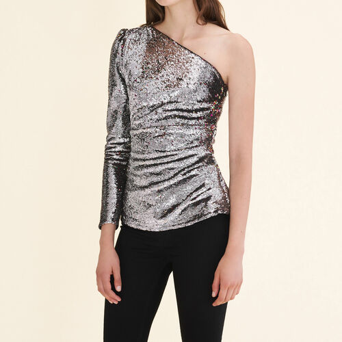Asymmetrical sequinned top : Tops color Silver