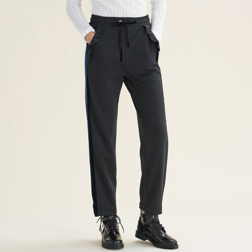 Straight-cut jogging-style trousers : See all color Black 210