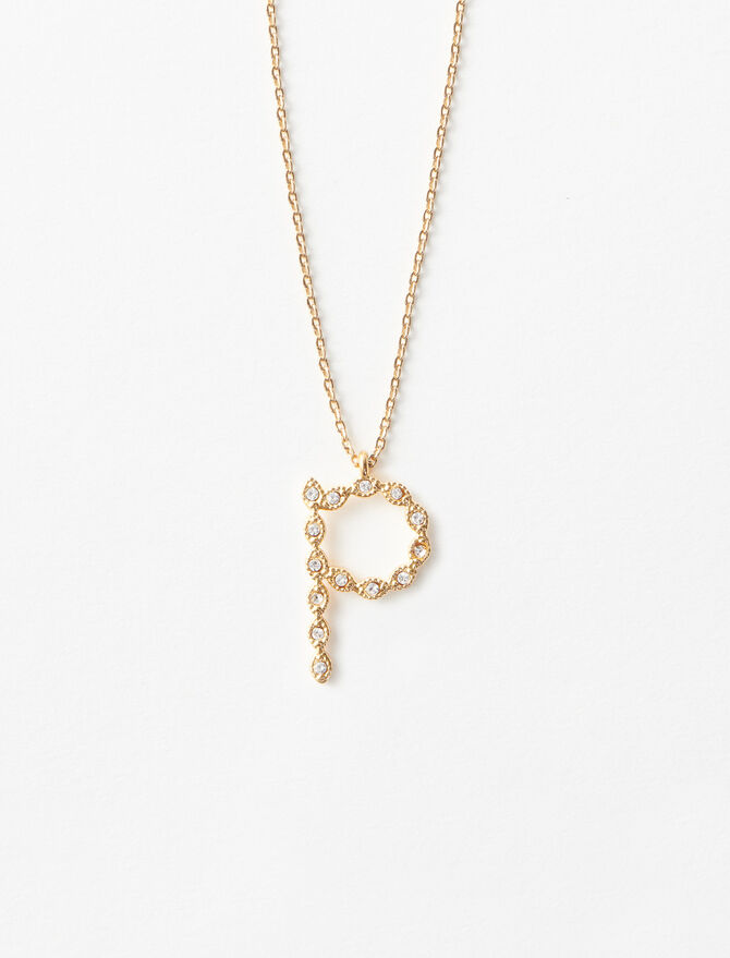 Rhinestone P necklace -  - MAJE