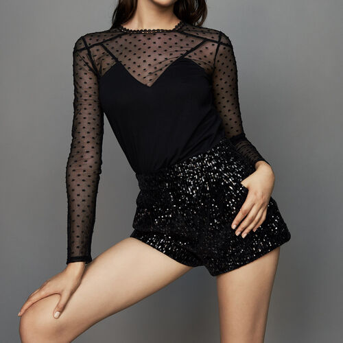 Sequined shorts : Skirts & Shorts color Black 210