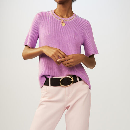 Short-sleeved knit sweater : Knitwear color LILAS