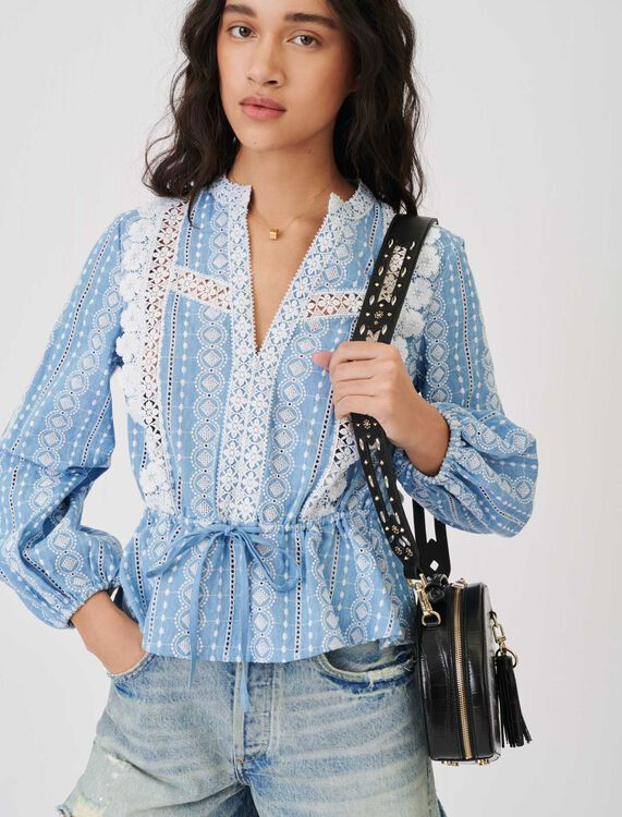 Top with contrasting trims - Tops & Shirts - MAJE