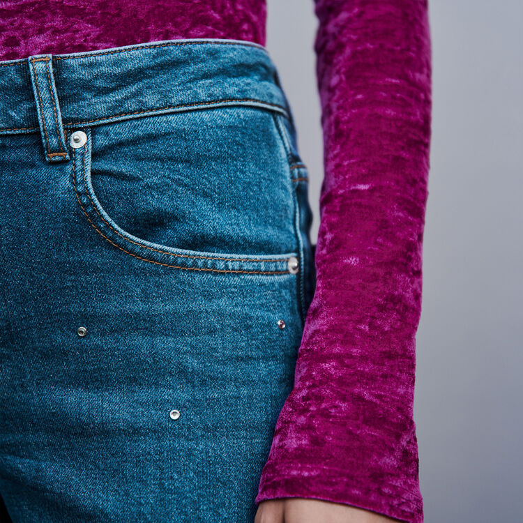 Strass-covered jean : Trousers & Jeans color Blue