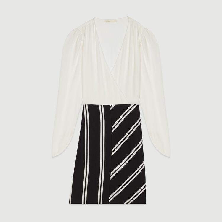 Robe droite bimatière : Pap_Robes couleur Blanc Casse