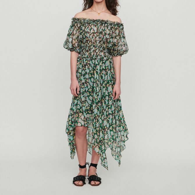 Long smocked dress in floral print - See all - MAJE