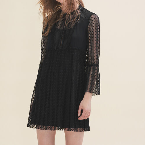Flowing dress with dotted Swiss : Dresses color Black 210