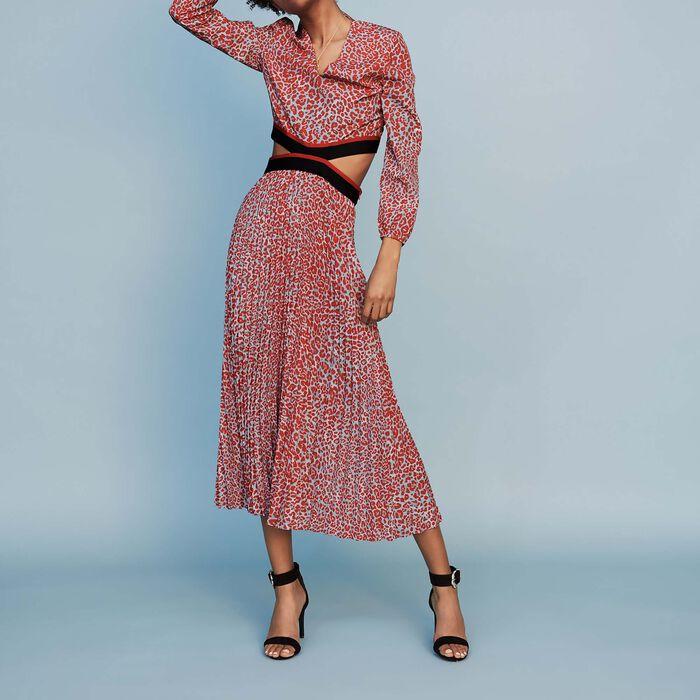 342fb89f85 Long pleated dress in leopard print