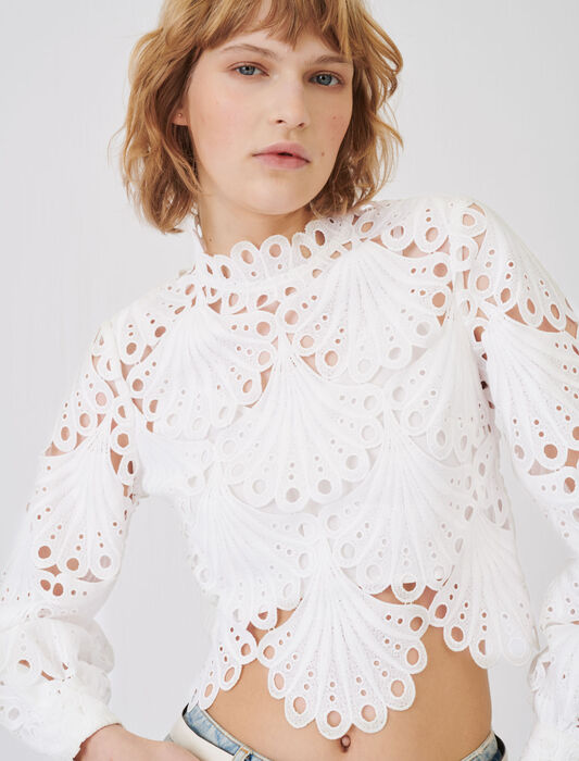 Guipure top : Tops & Shirts color White