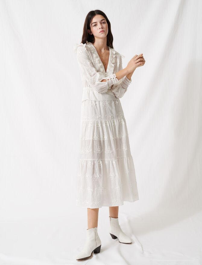 Ecru dress with ruffles and embroidery - Dresses - MAJE