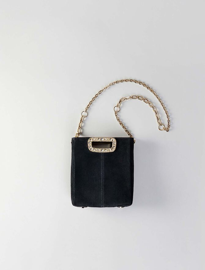Mini suede M bag with strass handle -  - MAJE