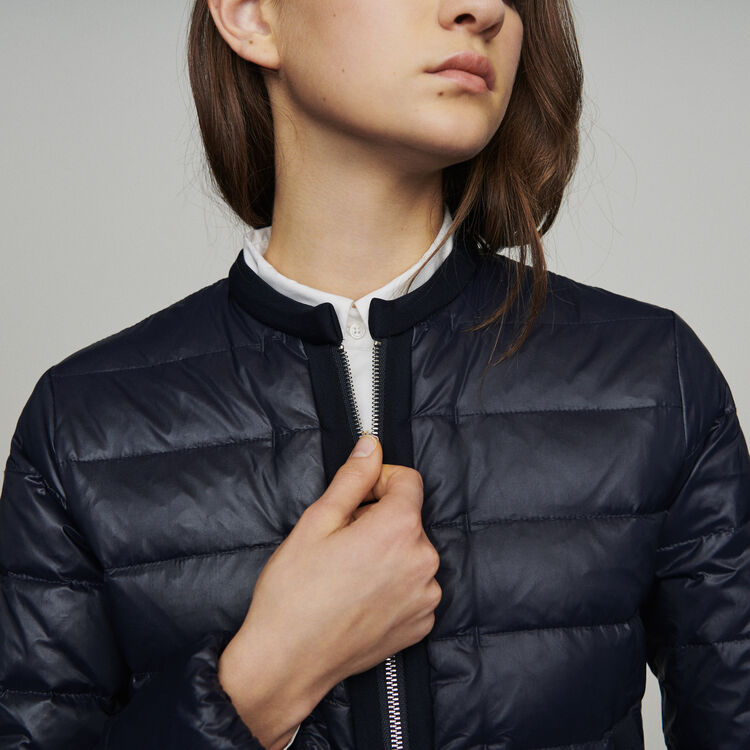 Lightweight down jacket with basque : Coats color Navy