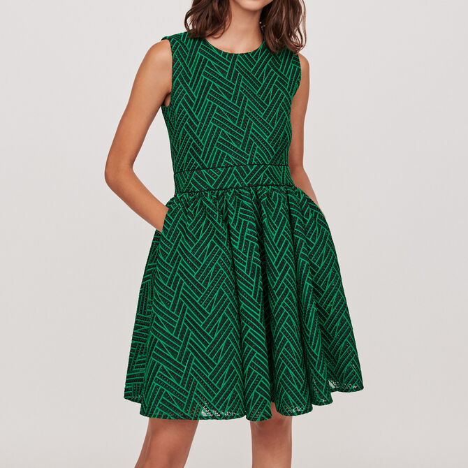 Basket-stitched knit dress -  - MAJE