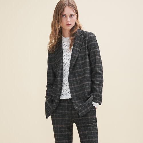 Long tartan jacket : Blazers color Jacquard
