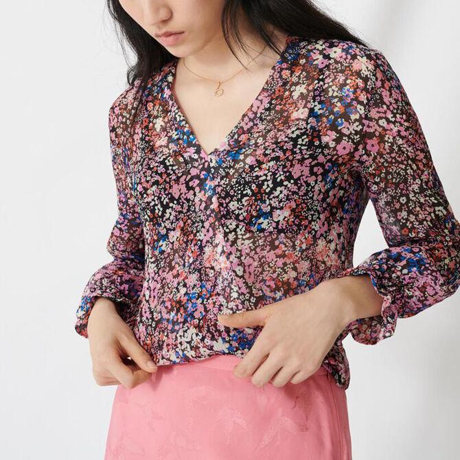Floral-print silk dress -  - MAJE