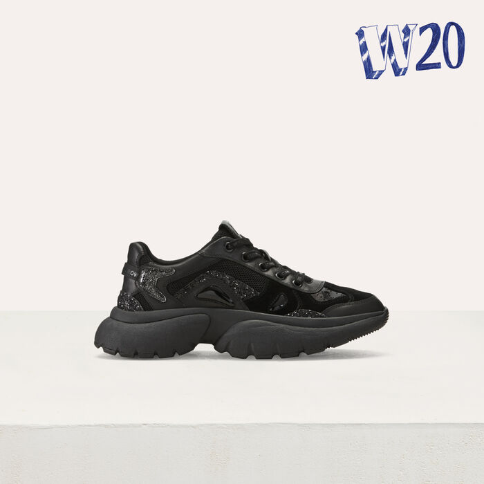 W20 Urban leather sneakers : Sneakers color Black 210