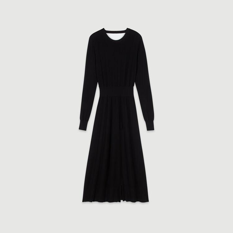 Split and reversible knit dress : Dresses color Black