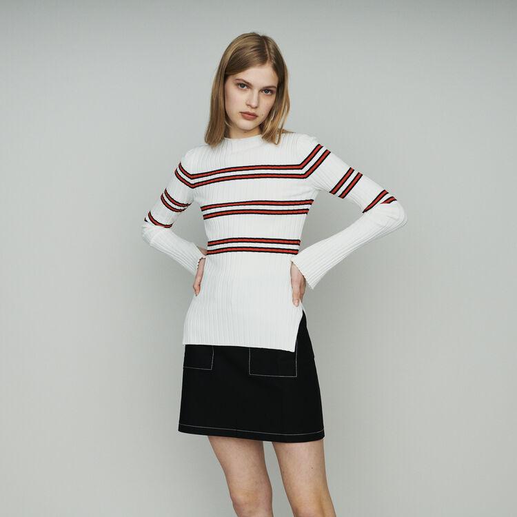 Thin sweater in striped tube knit : Knitwear color Stripe