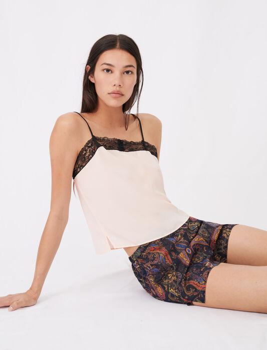 Print pyjamas with lace kit : Eco-friendly color Peach