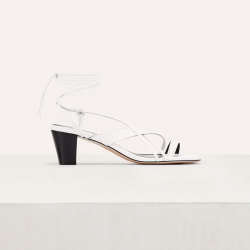 Leather sandals with tie-up ankle lace : This week color White