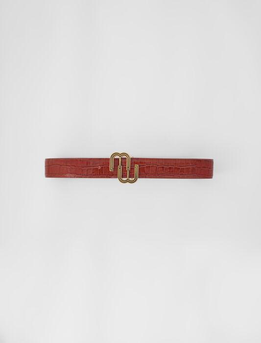Croc-effect leather double M belt : Belts color Black