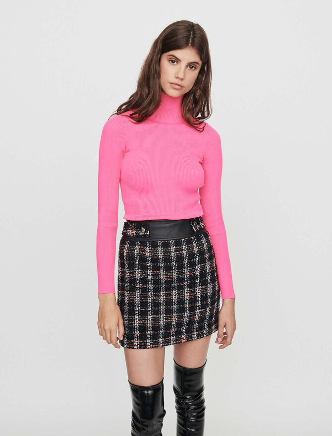Tweed-style contrast pencil skirt -  - MAJE