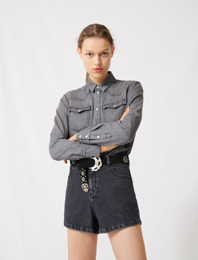 Trompe-l'œil-effect playsuit in denim - Jumpshort & Jumpsuits - MAJE