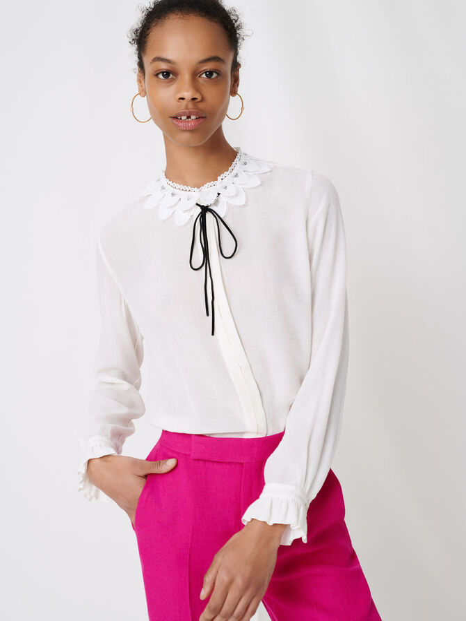 Guipure collar shirt and velvet link - Tops & Shirts - MAJE