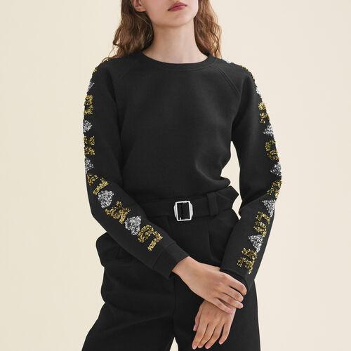 Neoprene-look sweatshirt with sequins : T-shirts color Black 210