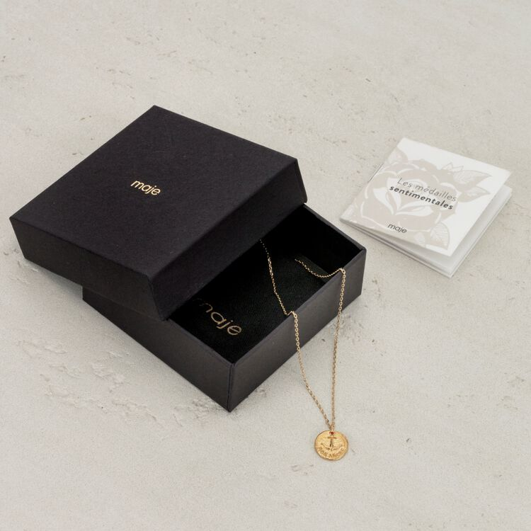 """Necklace with medallion """"Ma puce"""" : Jewelry color GOLD"""