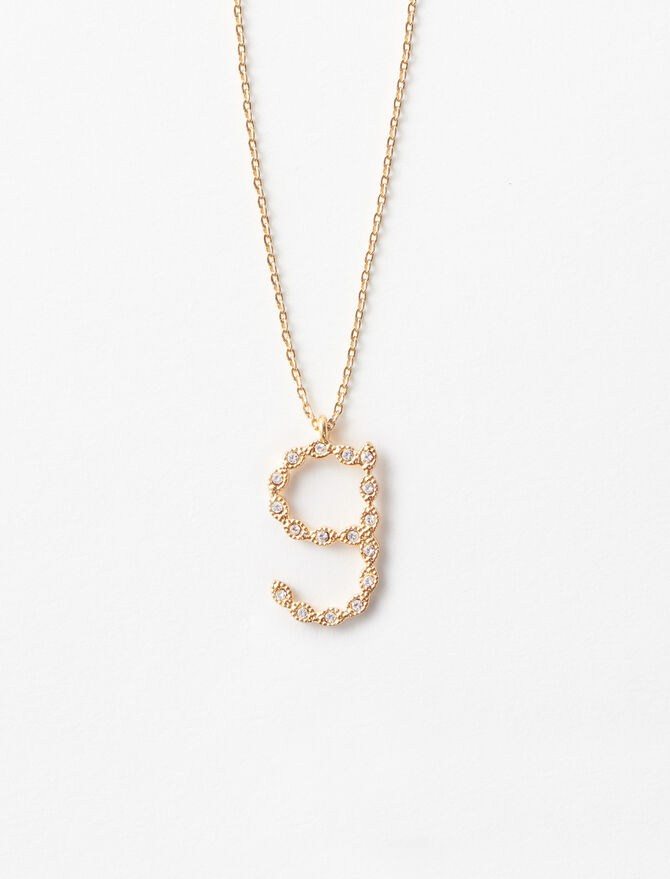Rhinestone G necklace -  - MAJE