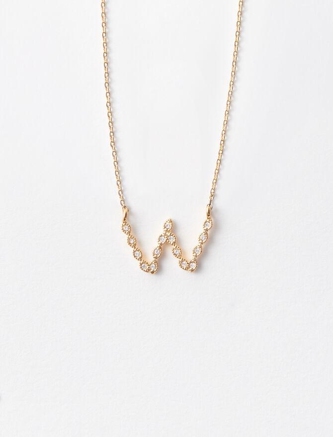 Rhinestone W necklace -  - MAJE