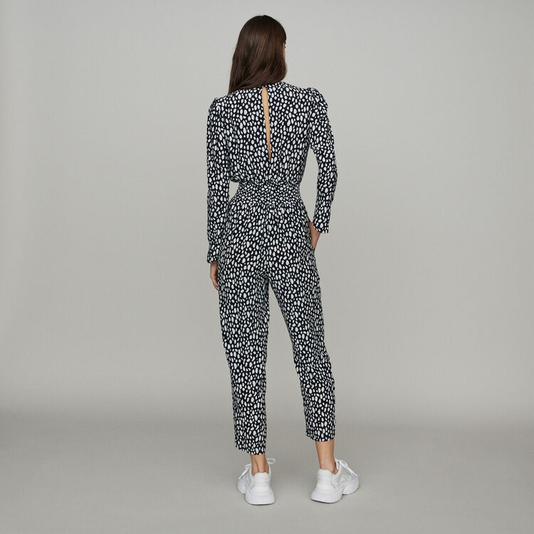 Printed jumpsuit smocked at waist : Trousers & Jeans color Print