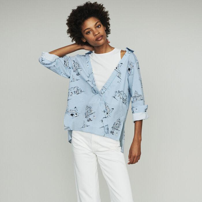 Striped shirt with Paris print : Tops color Blue