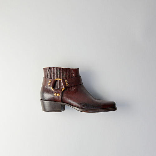 Square-toe ankle boots : Booties & Boots color Brown