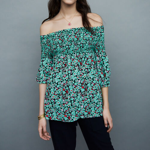 Top with smocked collar : Tops color PRINTED