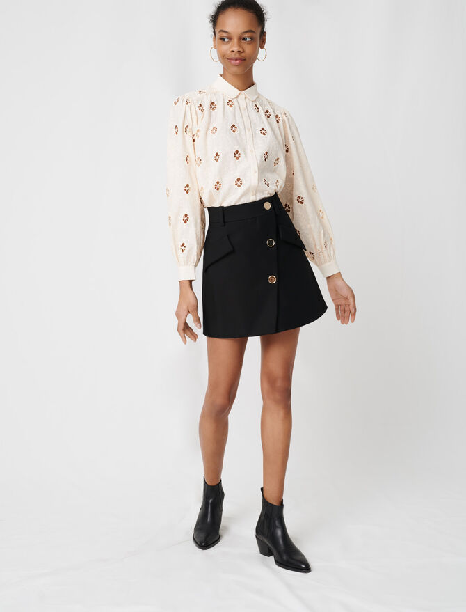 Crepe skirt with contrasting buttons - Skirts & Shorts - MAJE