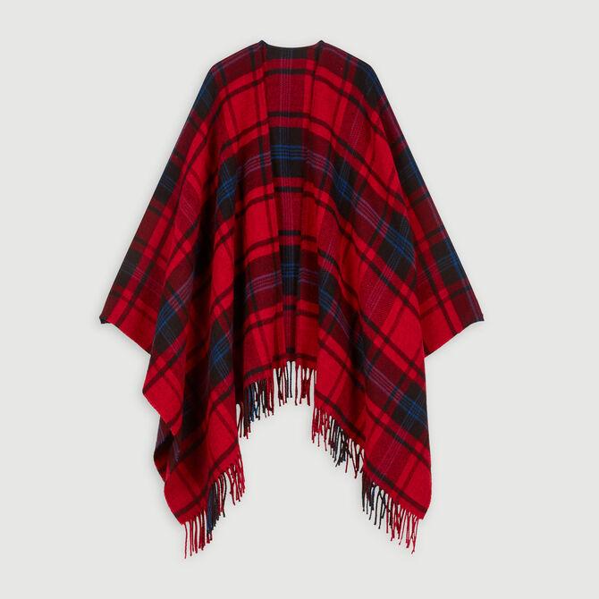 Poncho en laine mélangée à carreaux - Accessoires_Châles-Ponchos - MAJE
