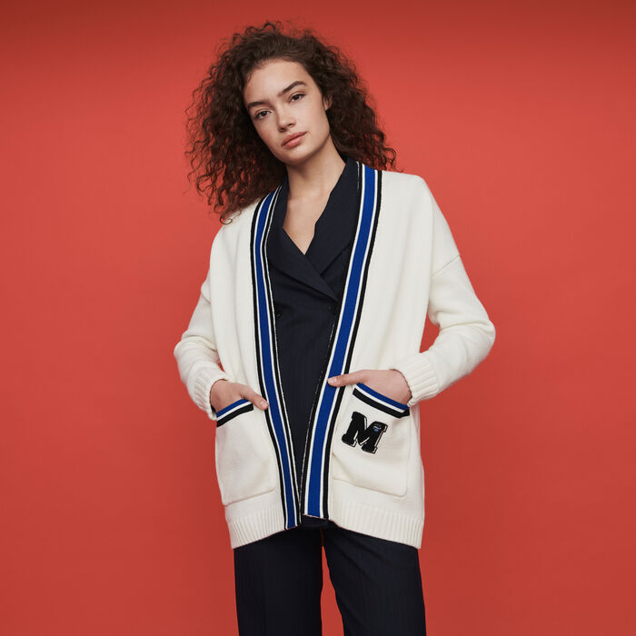 Contrast striped embroidered cardigan : Pullovers & Cardigans color Ecru