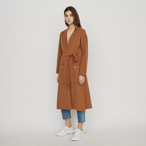 Long double-face wool coat : Coats & Jackets color Caramel