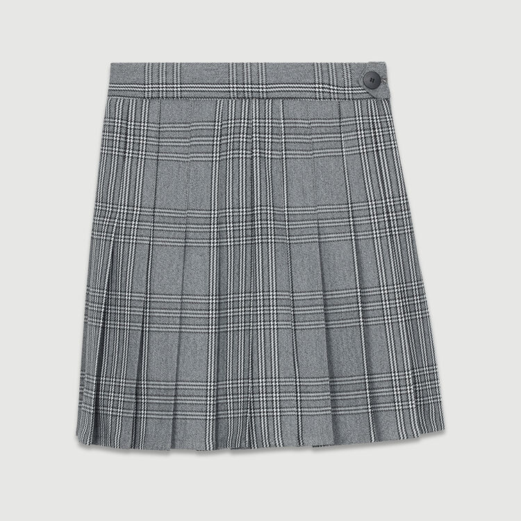 Pleated skort in jacquard : Skirts & Shorts color CARREAUX