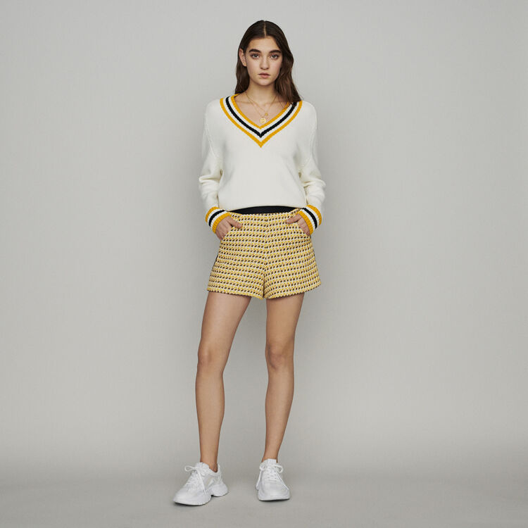 Shorts in tweed and lurex : Skirts & Shorts color Yellow