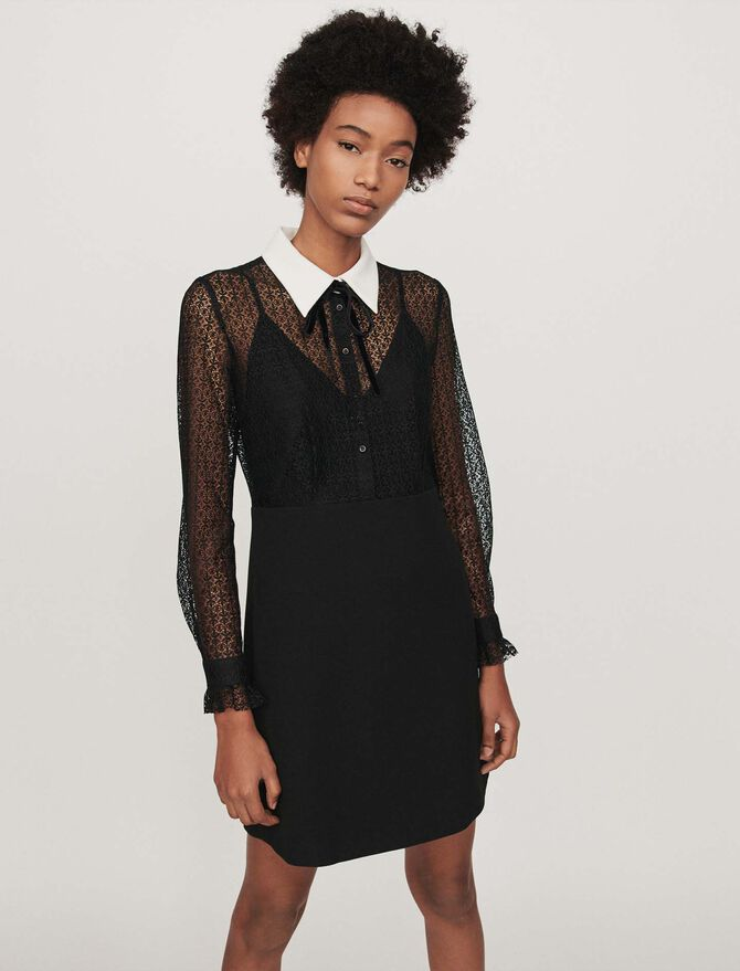 Contrast-collar guipure and crepe dress - SoldesBE_Robes - MAJE