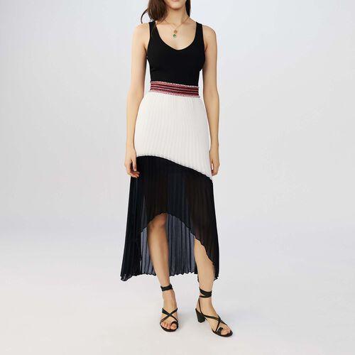 Long pleated bicolor dress : Dresses color Two-Tone