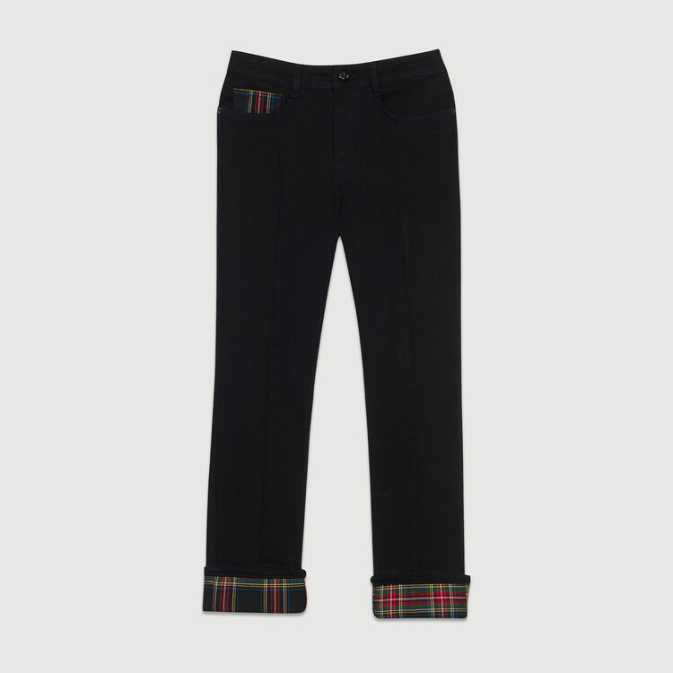 Straight jean with tartan detail : Jeans color Black 210