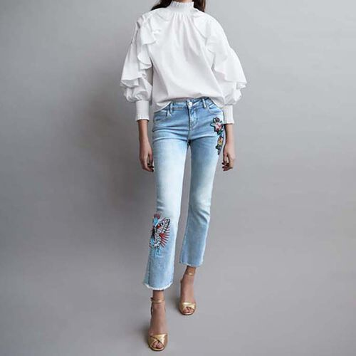 Embroidered flare jeans : Jeans color Denim