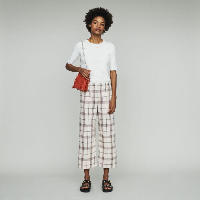 Wide leg plaid pants : Trousers color CARREAUX